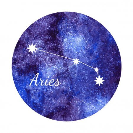Watercolor horoscope sign aries