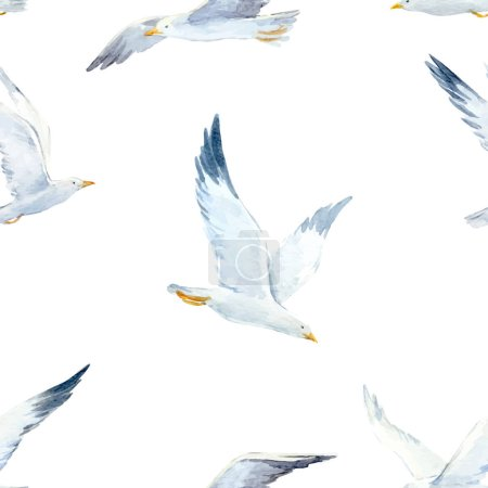 Illustration for Beautiful vector pattern with nice watercolor hand drawn seagulls - Royalty Free Image