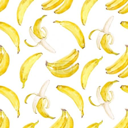 Illustration for Beautiful vector seamless pattern with watercolor hand drawn bananas - Royalty Free Image