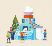 Christmas elves factory with gift on conveyor Elf concept celebration and holiday festive theme