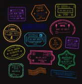 Vector set of colorful passport visa stamps in neon color