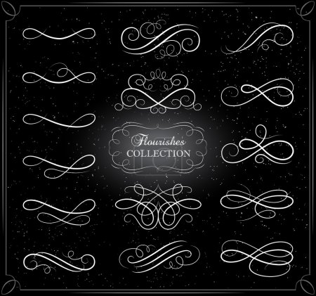 Illustration for Collection of swirling flourishes decorative elements on black background. Scroll elements. Calligraphic design elements. Vintage calligraphic flourishes. - Royalty Free Image