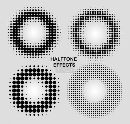 halftone effects circles set