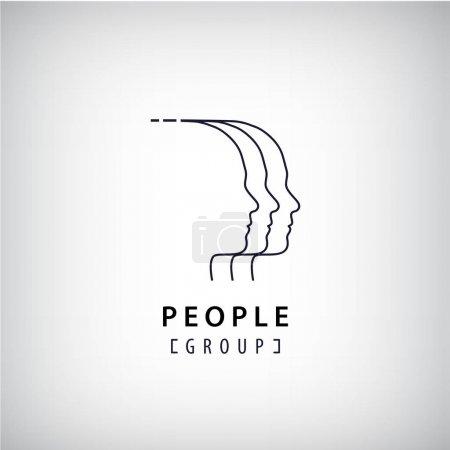 Illustration pour Logo des têtes humaines vectorielles. Groupe créatif, travail d'équipe, logotype de réunion. Signe de communication - image libre de droit