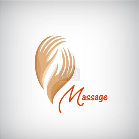 Illustration for Vector massage logo, 2 hands silhouette icons, business concept. Spa, beauty salon, relax - Royalty Free Image