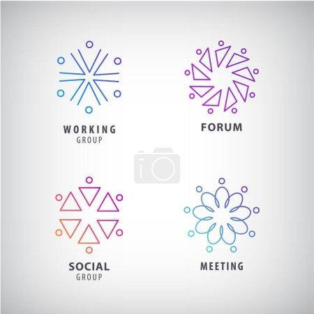 Illustration pour Ensemble de vecteur de relation sociale, réunion, forum, logos. Groupes de personnes dans les milieux, des concepts abstraits - image libre de droit