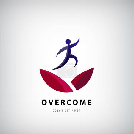 Illustration for Vector illustration on overcoming challenging problems and adversity in business concept. Overcome logo, jumping man from one side to other, success, winner - Royalty Free Image