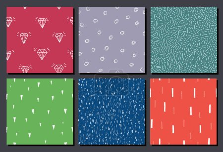 set of hand drawn seamless abstract patterns