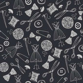 Vector hand drawn sewing seamless background doodle handmade hobby wallpaper wrapping paper Black and white