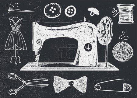 set of hand drawn sewins vintage elements