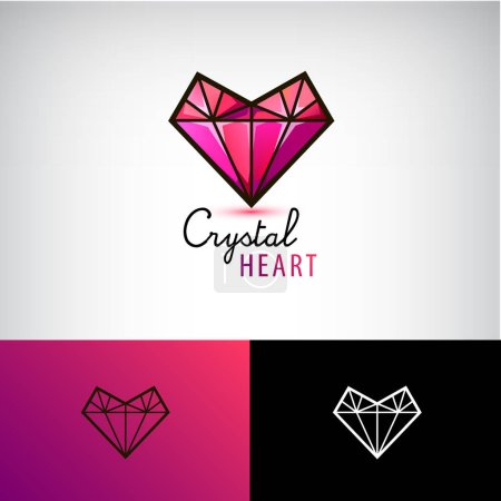 colored initial crystal heart logos
