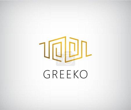 golden initial logo in greek style