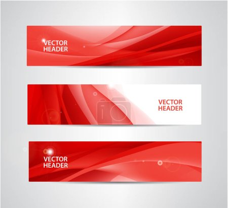 set of red banners