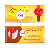 Gift Voucher certificate coupon template with red bow vector illustration
