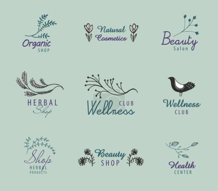 Collection of beauty salons logos, vector illustra...