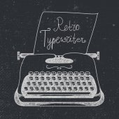 Vector hand drawn doodle retro black and white typewriter with paper Can use it for advertising banner card etc
