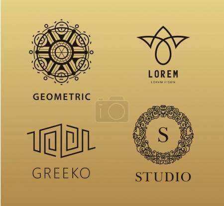 ensemble de logos linéaires abstraites