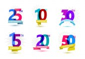 set of anniversary numbers design