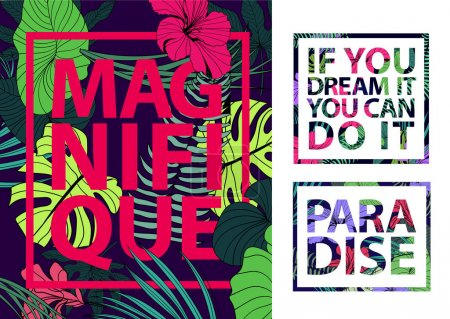 Illustration for Vector set of colorful tropical quotes in square frames. Valentine card, romantic poster, banner, cover. Inspiration. Tropical print slogan. For t-shirt or other uses. Magnifique, paradise, dream - Royalty Free Image