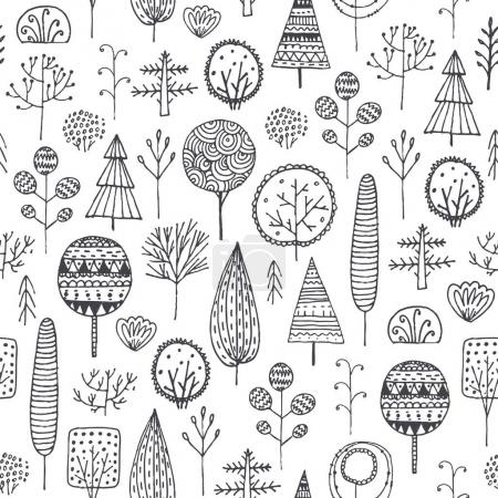seamless hand drawn trees pattern