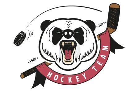 angry panda. hockey team logo.