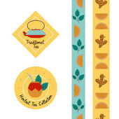 Tea label sticker and washi tape stripes collection for packagin