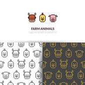Vector farm animals face emblem with seamless patterns set