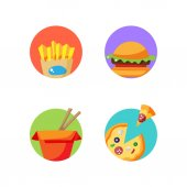 Street food stickers Vector badges for pack decoration