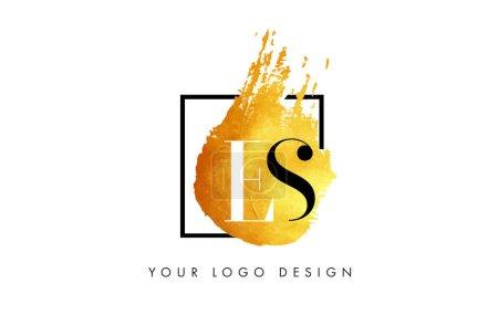 LS Gold Lettre Logo Peint Pinceau Texture coups .