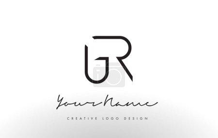 GR Letters Logo Design Slim. Concepto creativo de letra negra simple .