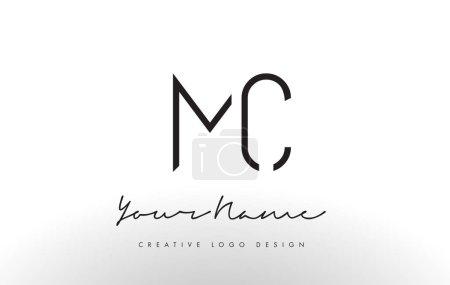 MC Letters Logo Design Slim. Simple and Creative Black Letter Concept Illustration.