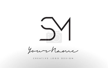 SM Letters Logo Design Slim. Creative Simple Black Letter Concept.