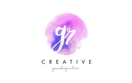 GR Acuarela Carta Logo Diseño con pincelada púrpura .