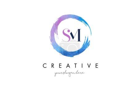 SM Letter Logo Circular Purple Splash Brush Concept.