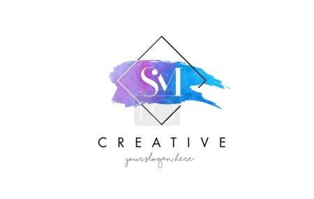 SM Artistic Watercolor Letter Brush Logo.