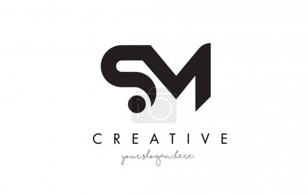 SM Letter Logo Design with Creative Modern Trendy Typography.