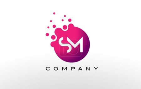 SM Letter Dots Logo Design with Creative Trendy Bubbles.