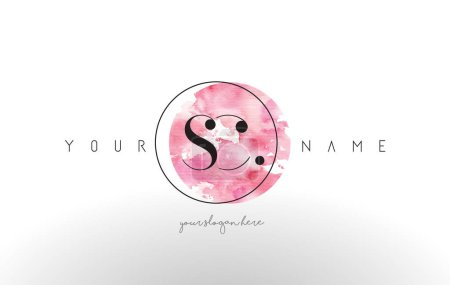SC Letter Logo Design with Watercolor Circular Brush Stroke.