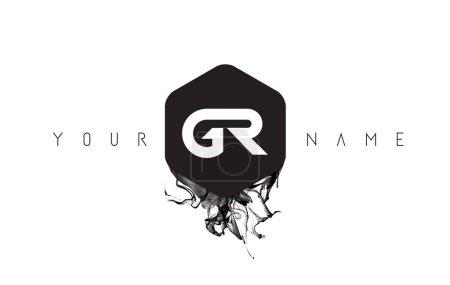 GR Carta Diseño de Logo con Derrame de Tinta Negra