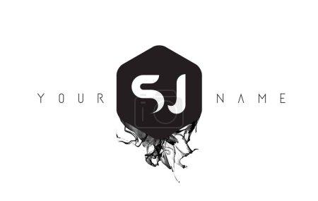SJ Letter Logo Design with Black Ink Spill