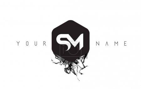 SM Letter Logo Design with Black Ink Spill