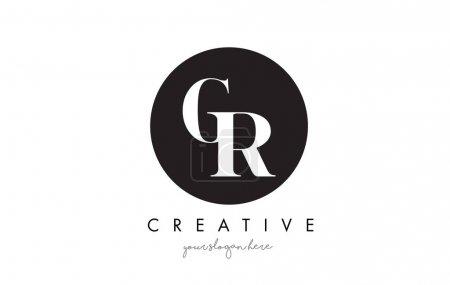 GR Carta Diseño de Logo con Círculo Negro y Serif Font .