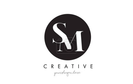 SM Letter Logo Design with Black Circle and Serif Font.