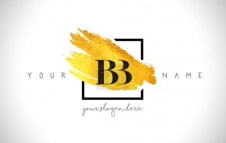Illustration pour BB Golden Letter Logo Design avec pinceau créatif en or et cadre noir . - image libre de droit