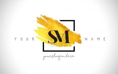 SM Golden Letter Logo Design with Creative Gold Brush Stroke