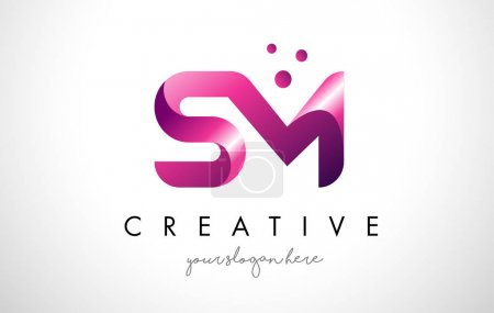 SM Letter Logo Design with Purple Colors and Dots