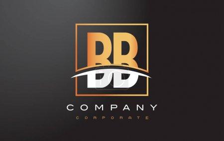 Illustration pour BB B B Design de logo de lettre d'or avec design vectoriel de boîte carrée swoosh et rectangle . - image libre de droit