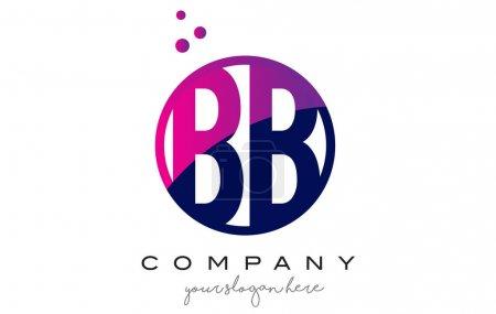 Illustration pour BB B B Lettre circulaire Design de logo avec des points magenta violet Illustration vectorielle de bulles - image libre de droit