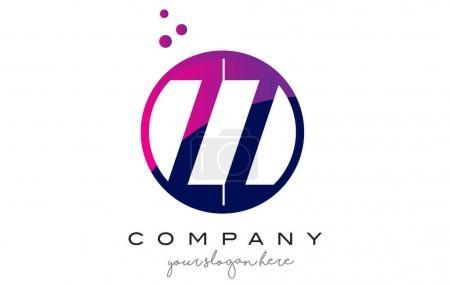 ZZ Z Circle Letter Logo Design with Purple Dots Bubbles