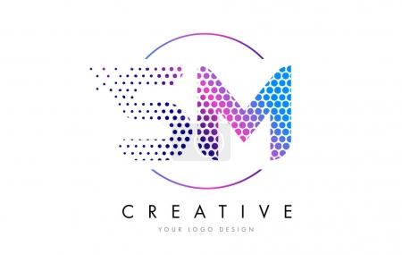 SM S M Pink Magenta Dotted Bubble Letter Logo Design Vector